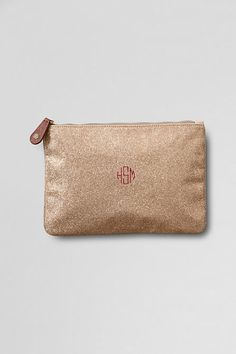 Women's Sparkle Flat Pouch with Monogram