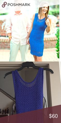 Gorgeous royal blue dress from Bebe Beautiful royal blue crotchet dress from Bebe. This gorgeous color brings out your true beauty! Perfect for wedding guest. I wore this one time for my engagement photos! bebe Dresses