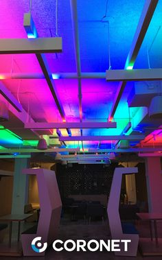 How fun are the RGB up light effects on these LS1 linear pendant fixtures? 😎 Our LS1 luminaires are customizable in patterns and long runs. Up and down light available.   #RGB #RGBlightingideas #lightingdesign #architecturallighting #linear #pendant #fixtures #lightingeffects #coronetled