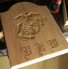 Marine Corps EGL solid Oak Dartboard Cabinet. Check out Knot Just Woodworking on etsy.com