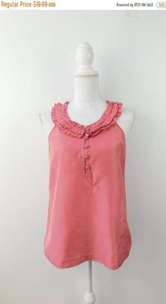 ffb4286dc6b Items similar to Vintage 1990s 90s J Crew Mauve Pink Textured Ruffle Collar  Silk Button Down Sleeveless Blouse Top Shirt Sz 6 Small on Etsy