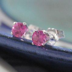 Pink Sapphire Earrings in Silver