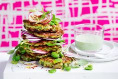 Vegie fritters are enjoying their day in the sun right now, and it& no surprise when you consider how simple they are to throw together and just how much goodness they pack in. These quick and easy fritters make for the perfect meal any time of the day. Vegetarian Recipes, Cooking Recipes, Healthy Recipes, Vegetarian Cooking, Easy Recipes, Easy Meals, Paleo Sweet Potato, Delicious Magazine, Vegetable Side Dishes