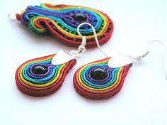 www.facebook.com/... Rękodzieło-biżuteria sutasz. Handmade-soutache jewellery. #colorful #rainbow #valentinesday #earrings #kolczyki #walentynki #pendant #wisior #prezenty #onyks #onyx Crochet Earrings, Rainbow, Facebook, Handmade, Jewelry, Fashion, Rain Bow, Moda, Rainbows