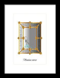 Marina Usmanskaya Framed Print featuring the digital art Venetian Mirror by Marina Usmanskaya#MarinaUsmanskayaDigitalArt#Venice#VenetianMirror#ArtForHome#FineArtPrints