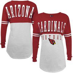 29a4f925d619 Women s Arizona Cardinals 5th   Ocean by New Era Cardinal White Baby Jersey  Spirit Long Sleeve T-Shirt