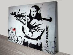 This is a Banksy Artwork features Mona Lisa With Bazooka Rocket launcher, made in Australia Banksy Artist, Banksy Wall Art, Banksy Artwork, Artist Wall, Banksy Canvas Prints, Canvas Wall Art, Wall Art Prints, Canvas Prints Australia, Stencil Street Art