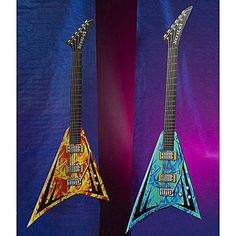 Rock Star Giant Guitars feature two larger than life Flying V® guitars in vibrant orange and blue. Each of the cardboard giant guitars measure 9 feet high x 3 feet 4 inches wide.