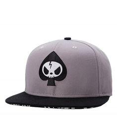 3de83fcb40fce Mens Skull Embroidery Fitted Flat Bill Hats Cool Snapback Hip Hop Cap-  Medium- Grey