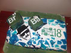breaking bad cake, glacier mints coloured blue, chocolate sponge, 18 birthday