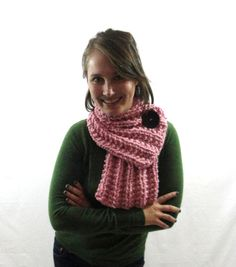 Light+Pink+Chunky+Knit+Ribbed+Cowl+Scarf+with+by+LaurasLovelyKnits,+$59.00