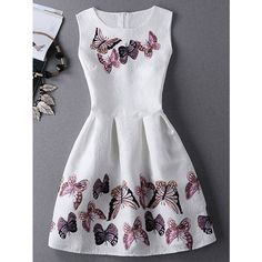 Stunning Jewel Neck Sleeveless Butterfly Print Pleated Dress For Women (31 CAD) ❤ liked on Polyvore featuring dresses, sleeveless dress, pleated dress, butterfly dress, butterfly pattern dress and monarch butterfly dress