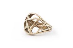 3D printed steel modern geometric ring #1 awesome jewelry   Qlloe - Jewelry on ArtFire