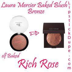 Laura Mercier Baked Blush Bronze dupe Elf Baked Blush Rich Rose