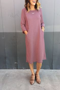 Cranberry Stripe Dress | ROOLEE
