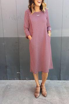 Cranberry Stripe Dress | ROOLEE
