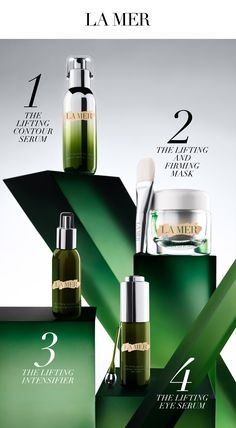 For our utmost in uplifting beauty rituals, start with the Lifting Contour Serum to elevate the look of contours and refine visible definition. Next, indulge in the luxurious touch of concentrated lifting power with the Lifting and Firming Mask. For instant spot tightening, apply the Lifting Intensifier as desired and then sweep on the Lifting Eye Serum for our ultimate in visible eye lifting and renewal. Follow with your preferred La Mer moisturizer.