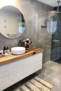Contemporary bathroom with navy subway herringbone feature wall and grey tiles, custom timber vanity and sleek tapware blue Navy blue and charcoal bathroom - STYLE CURATOR Bathroom Renos, Grey Bathrooms, Bathroom Renovations, Small Bathroom, Master Bathrooms, Mirror Bathroom, Wooden Bathroom Vanity, Relaxing Bathroom, Tile Mirror