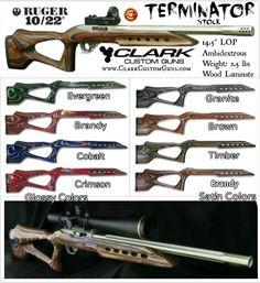 Ambidextrous TERMINATOR Ruger 1022 Aftermarket Laminate Stocks from Clark Custom Guns .920 bull barrel channel