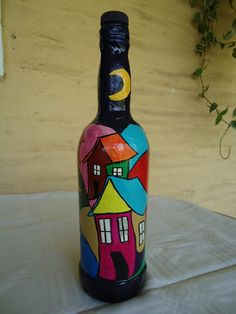 Step-by-Step Guide to - Pintura acrílica - Painting Glass Jars, Painted Glass Bottles, Glass Painting Designs, Plastic Bottle Crafts, Painted Wine Glasses, Bottle Painting, Wine Bottle Art, Diy Bottle, Wine Bottle Crafts