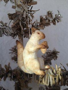 Spun Cotton Batting Squirrel Feather Tree Ornament Vintage Type Primitive OOAK   eBay