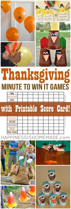 Thanksgiving Minute to Win It games for kids and adults – everyone from toddlers to grandmas will want to play! These Thanksgiving party games are perfect for all ages – challenging enough for older kids and adults, but still simple enough that younger ch Thanksgiving Games For Adults, Hosting Thanksgiving, Thanksgiving Traditions, Family Thanksgiving, Thanksgiving Parties, Thanksgiving Crafts, Thanksgiving Decorations, Thanksgiving Birthday, Thanksgiving Messages