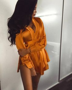 Gold yellow plunge neck sleeved satin sexy wrap tie waist romper girls date night out fashion dress Cute Fashion, Teen Fashion, Fashion Outfits, Womens Fashion, Dress Fashion, Night Outfits, Fall Outfits, Cute Outfits, Work Outfits