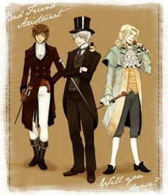 "Three different Hetalia guys, three different historical ""looks"": Antonio in early 19th clothing (think Regency dandy, but Spanish); Gilbert in Victorian-era dress; and Francis as an 18th century fop (sorry, Francis - you're the best one at pulling it off, as silly as the term sounds.)"