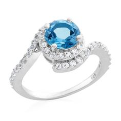 1.60 Carat tw Blue Topaz & White Sapphire Ring in Sterling Silver