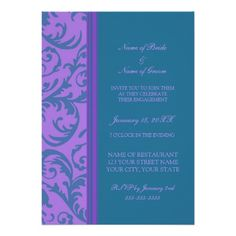 Teal and Purple Photo Engagement Party Invitations