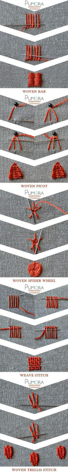 Pumras embroidery stitch lexicon: weave stitch and variations