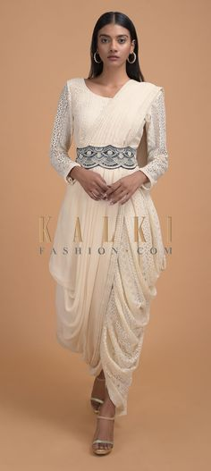 Buy Online from the link below. We ship worldwide (Free Shipping over US$100)  Click Anywhere to Tag Off White Dhoti Saree In Lace With Ready Stitched Georgette Pallu And Embellished Belt Online - Kalki Fashion Off white dhoti saree in lace with ready stitched pallu in georgette with abla embroidered border.Paired with matching blouse in lace fabric with scoop neckline, cut out back with tassel dori and full sleeves.