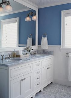 white bathrooms | ... bathroom sconces, white and blue bathroom, beadboard bathroom, white