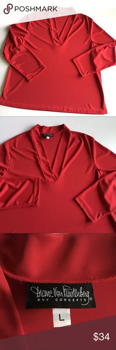 """❤ DVF V-Neck Career Blouse Diane Von Furstenberg / DVF Concepts beautiful candy Apple red V-Neck long sleeve career top // Sz L but fits XL // 100% polyester // heavier polyester with a nice swing to it // bottom hem has been hand sewn, as the hem may have come unraveled. See measurements for any deviations on sizing // split hems // no stains or snags // 25"""" across armpits // 29.5"""" sleeves // 28.5"""" length // non-smoking home // not my size. Can't model // 4.22.34.762 11.9o // Bundle…"""