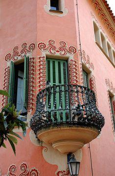balcony of Gaudi museum in Barcelona, Spain