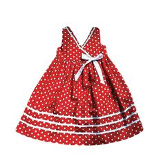 GIRLS RED AND WHITE POLKA DOT DRESS by ABYS KIDS