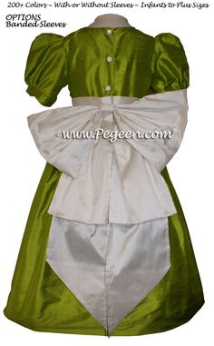 4c2f3fe482b Flower Girl Dress Chartreuse Green and Antique White Style 345