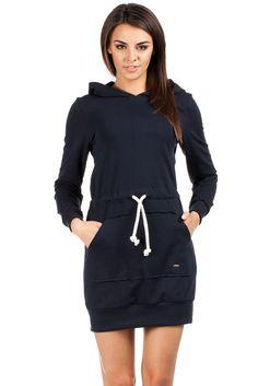 Navy blue hooded dress