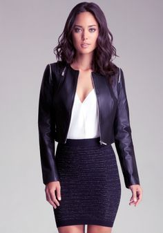bebe   Quilted Zipper Leather Jacket - View All