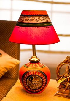 Ethnic  Terracota Table Lamp. home decor online shopping india. interior decoration. furniture. furnishings. lamps. accessories