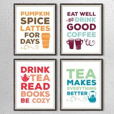 A set of four free printables for coffee + teas lovers. Perfect kitchen decor!
