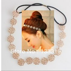 Lovely Chain Elastic Hollow Out Rose Flower Stretch Hair Band Headband Metallic  2016 HOT free shipping
