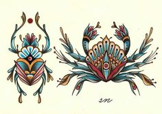 scarabaeus & crab flash of ham nawojka - scarabaeus & crab flash von sonka nawojka - Traditional Tattoo Animals, Traditional Black Tattoo, Traditional Tattoo Flowers, Traditional Tattoo Old School, Traditional Sleeve, Traditional Tattoo Drawings, Finger Tattoos, Leg Tattoos, Body Art Tattoos