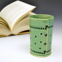 Green Cup Tumbler Vase with Dots by Creativewithclay on Etsy, $26.00