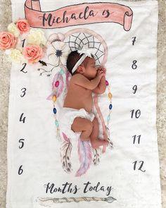 Boho Milestone baby blanket