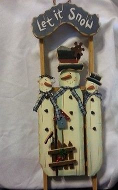 Christmas Decoration Wood Wooden Sled Snowman Snowmen Let It Snow Sign Hanging