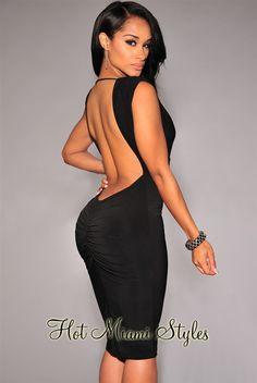 Black Ruched Low Back Dress