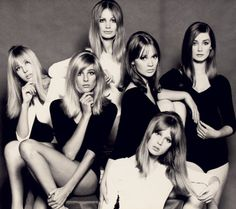 "Top London models of the mid-1960s. From left: Jenny Boyd, Jill Kennington, Sue Murray, Celia Hammond, Pattie Boyd, and Tania Mallet.They were often called ""birds."""