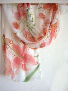 Floral silk scarf hand painted. Coral flowers paint on by klaradar, €45.00