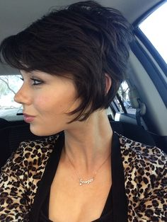 Short pixi A-line bob hairstyle